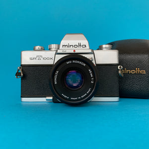 Minolta SRT100X 35mm SLR Film Camera w/ Prime Lens & Original Leather Case - Film Camera Store