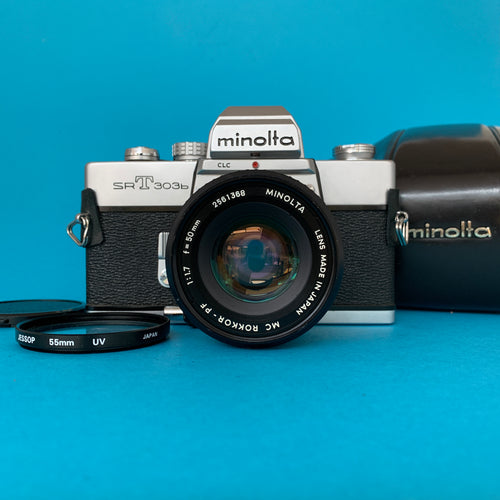 Minolta SRT303b 35mm SLR Film Camera w/ Prime Lens & Original Leather Case