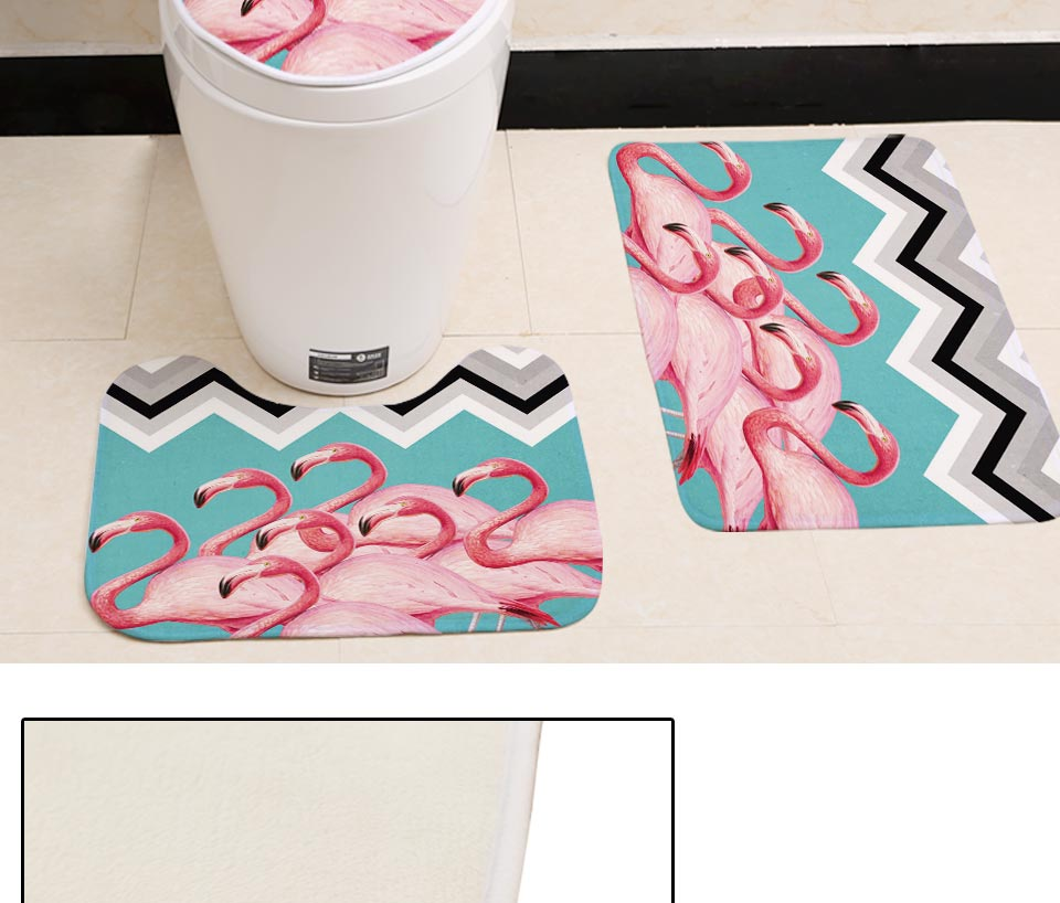 Enjoyable Miracille Pink Flamingo Pattern 3 Pieces Bathroom Set Toilet Seat Cover U Shaped Rug Coral Fleece Bath Accessories Small Carpet Short Links Chair Design For Home Short Linksinfo