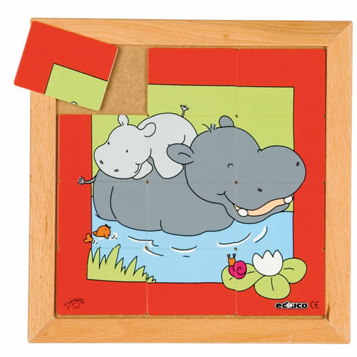 Animal puzzle mother + child - hippo E522283