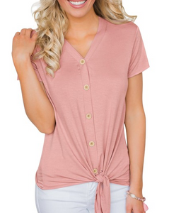 Pretty in Pink Tie Front Tee