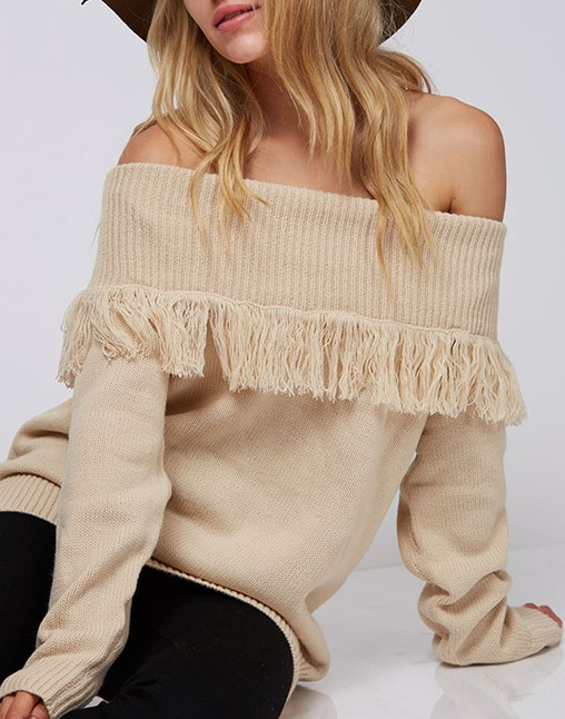 Sydney Beige Off the Shoulder Fringe Sweater
