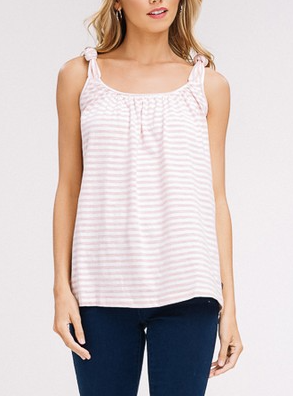 Striped Pink Tank with Tie Straps