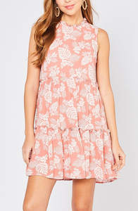 Lauren Tropical Tiered Dress in Peach