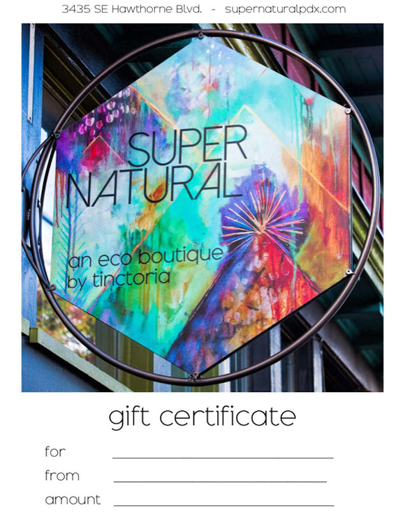 Super Natural Gift Card  (in store only)