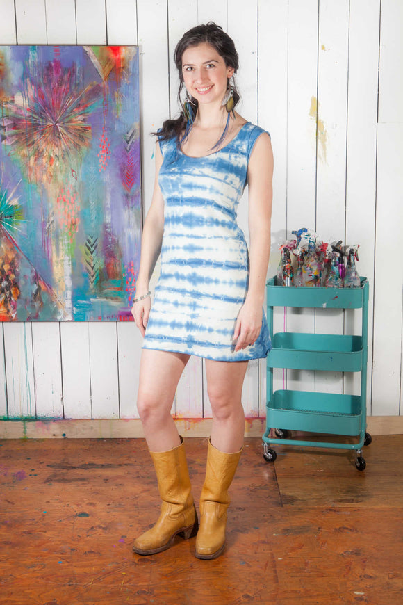 Cap Sleeve Dress - w/indigo shibori