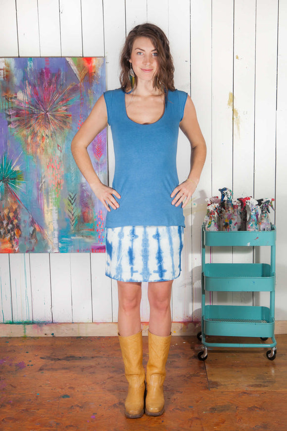 Mini Skirt - w/indigo shibori