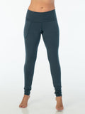 womens bamboo spandex full length leggings with a pocket and fold over waistband #color_teal