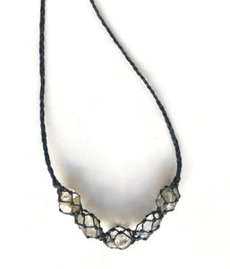 netted crystals :: 5x herkimer diamond necklace