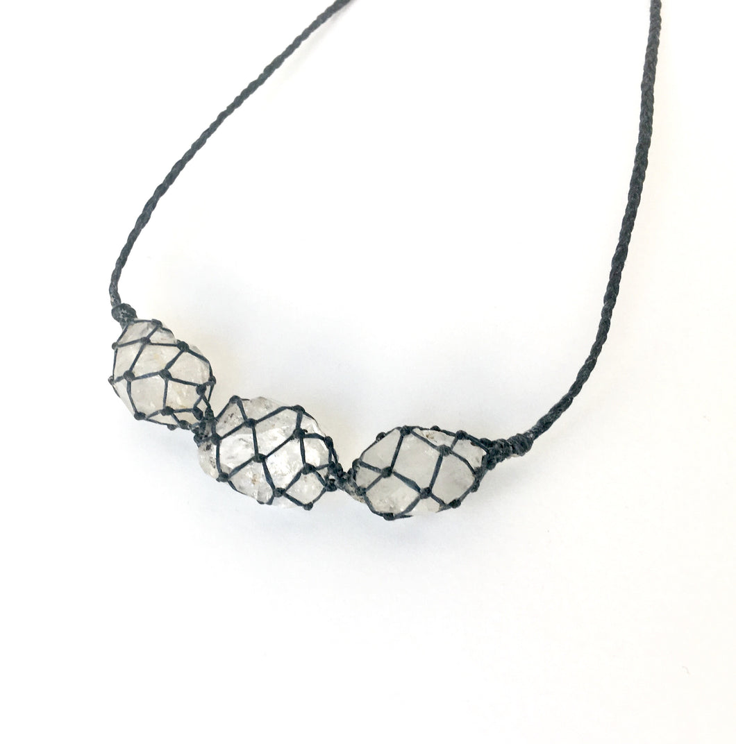 netted crystals :: 3x herkimer diamond necklace
