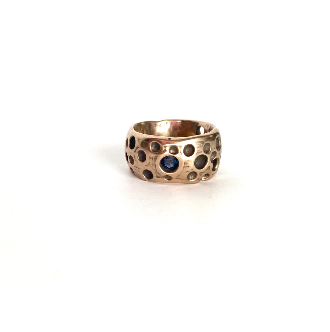 crater bronze ring w/blue sapphire