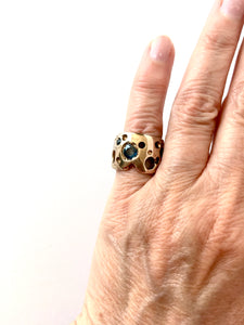 crater bronze ring w/2 sapphires