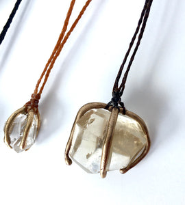 herkimer diamond caged in 14k gold