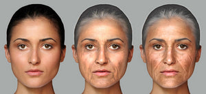 (L) Age 23  (Middle) Age naturally to 72  (R) Age with excess sun to 72.  Photo courtesy of AprilAge.