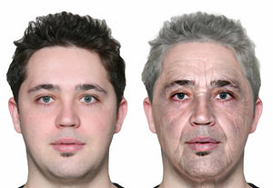 (L) Age 25  (R) Age 70.  Photo courtesy AprilAge
