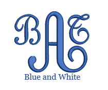 Load image into Gallery viewer, Blue and White Monogram