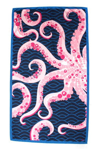 Octopus Giant Beach Towel in Navy/Pink
