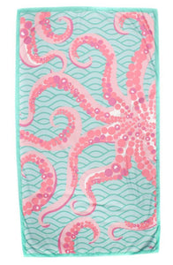 Octopus Giant Beach Towel in Mint/Pink