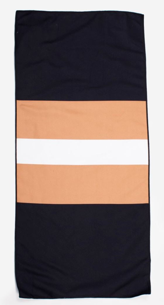 Preppy Stripe Giant Beach Towel Black/Gold
