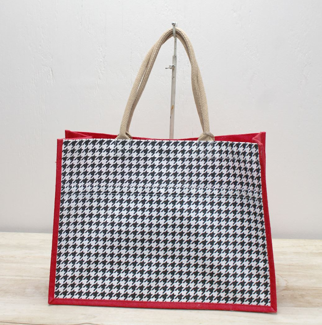 Houndstooth Jute Pocket Tote