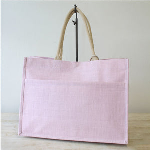 Jute Pocket Tote in Light Pink