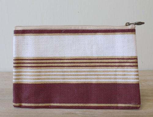 Victory Stripe Cosmetic Bag in Maroon/Gold/White