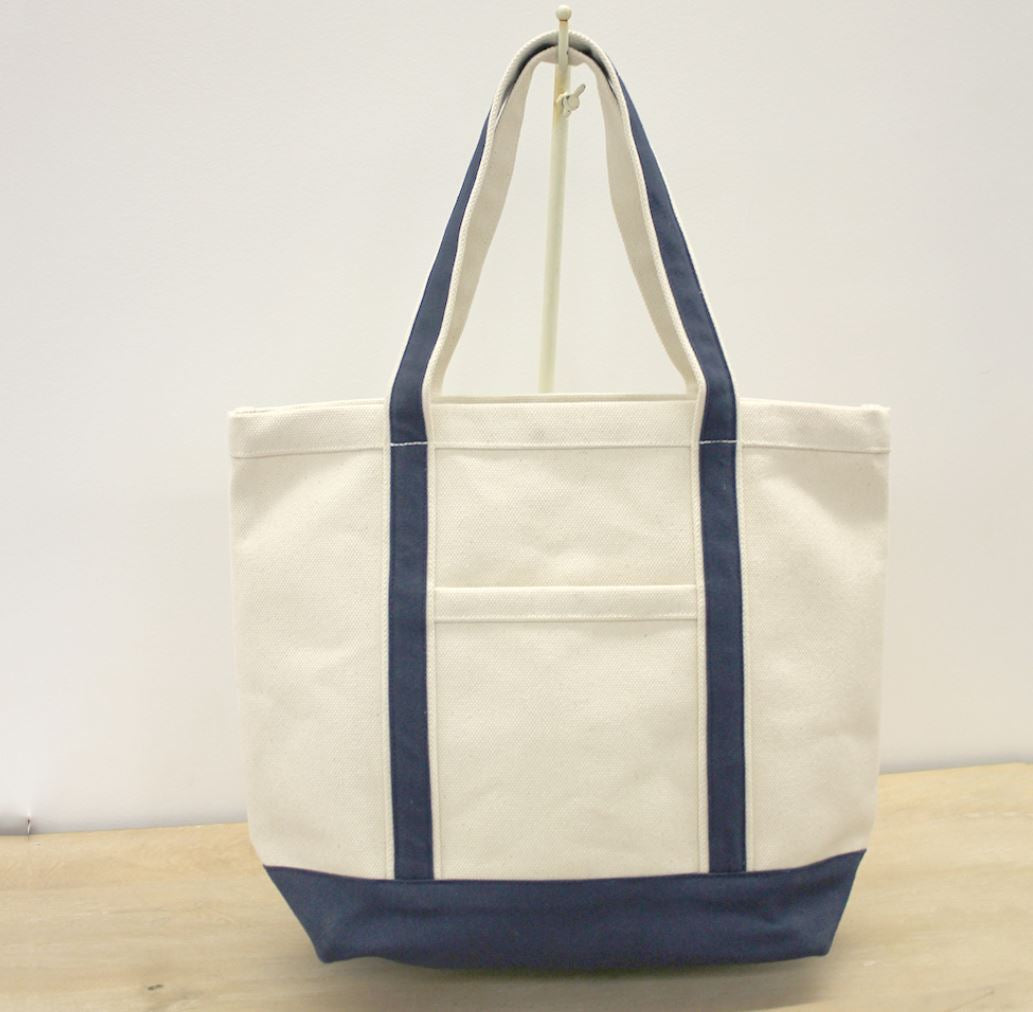 Ashville Canvas Tote in Natural/Navy