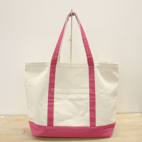 Ashville Canvas Tote in Natural/Pink