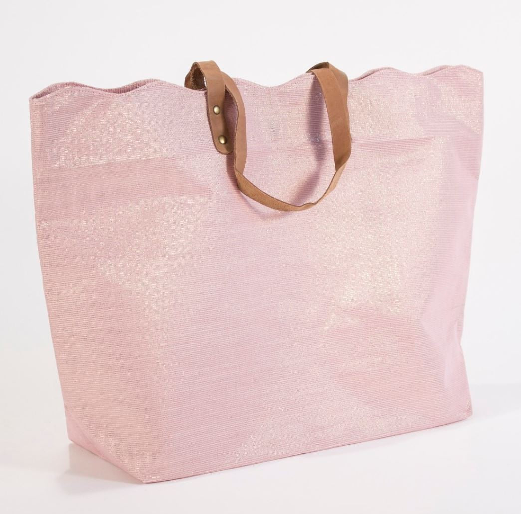 Shimmer Scallop Tote Bag in Rose Gold