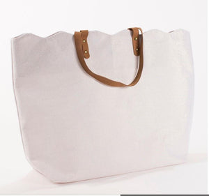 Scallop Shimmer tote in White/Gold