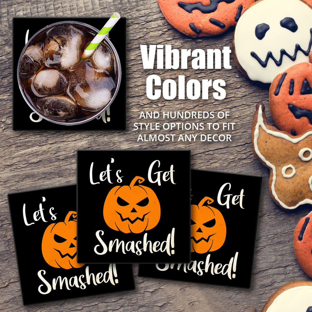 "[Set of 4] 4"" Premium Absorbent Ceramic Square Halloween Party Coaster - I Am Here For The Boos"