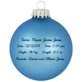 "3 1/4"" Alpine Blue Baby's First Personalized Christmas Ornament"
