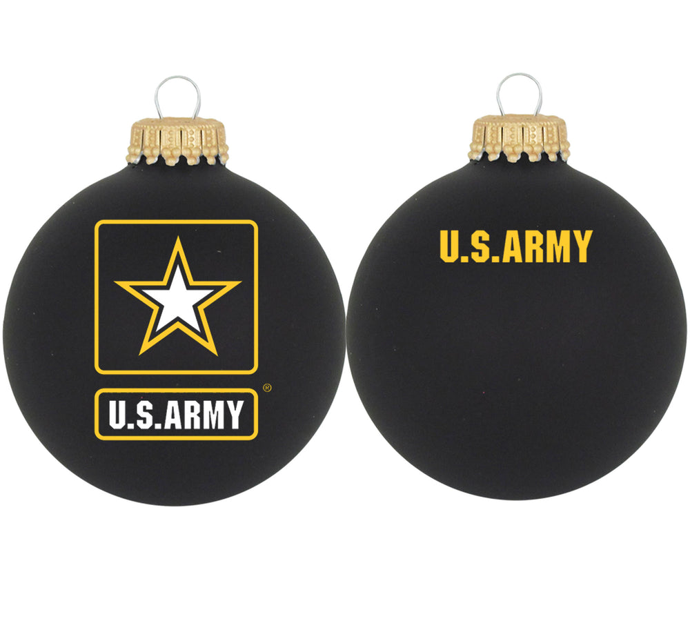 Black glass ornaments with U.S. Army Seal