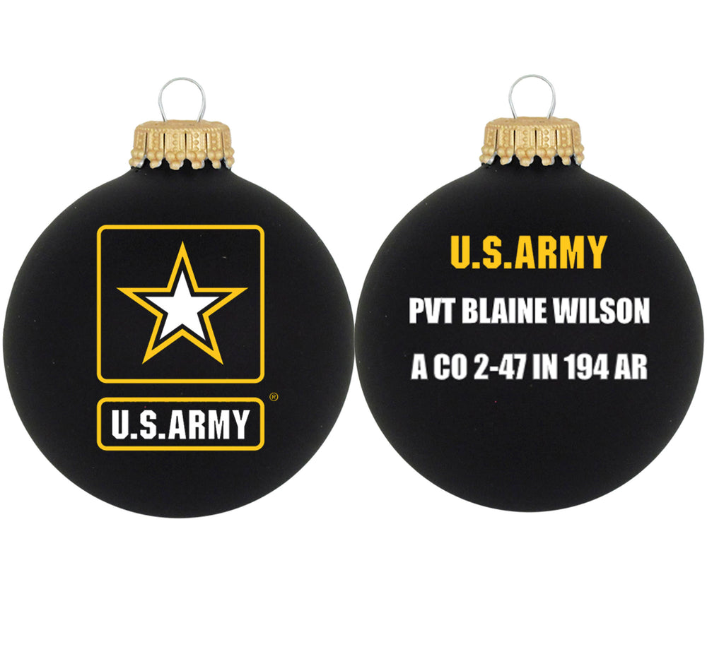 "3 1/4"" Personalized Black Glass Ornaments with U.S. Army Seal"
