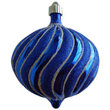 Blue Swirled onion large Christmas ornament