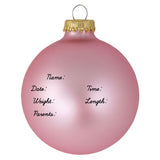 "3 1/4"" Tickled Pink Baby's First Personalized Christmas Ornament"