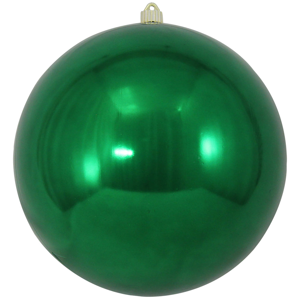shiny dark green round shatterproof large christmas ornaments