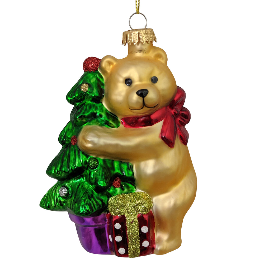 "Krebs Designer Glass Bear with Gift Box and Tree Figurine Christmas Holiday Ornament, 4"" (100mm)"