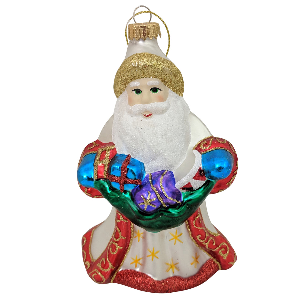 "Krebs Designer Glass Santa Figurine Christmas Holiday Ornament, 5"" (127mm)"