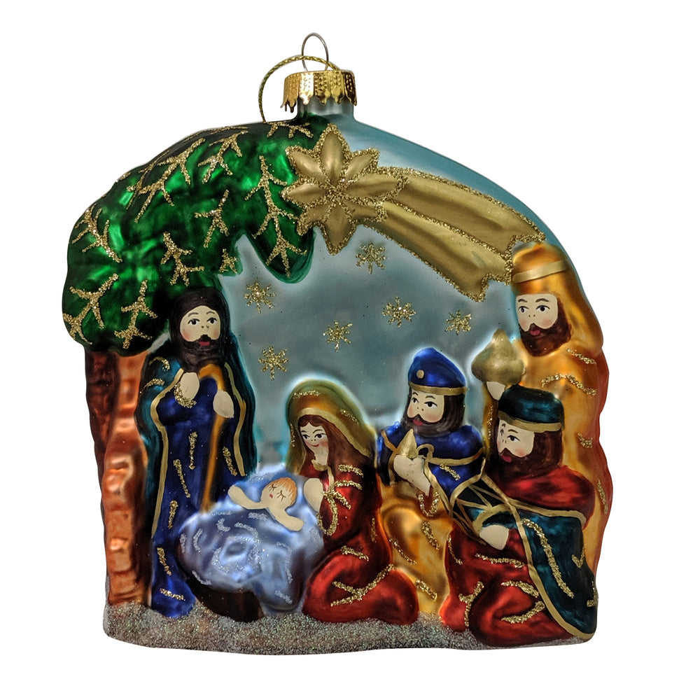 "Krebs Designer Glass Nativity Scene Figurine Christmas Holiday Ornament, 4"" (100mm)"
