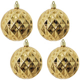 "4 Pack - 4"" (100mm) Commercial Grade Indoor Outdoor Shatterproof Plastic Diamond Ball Ornaments"