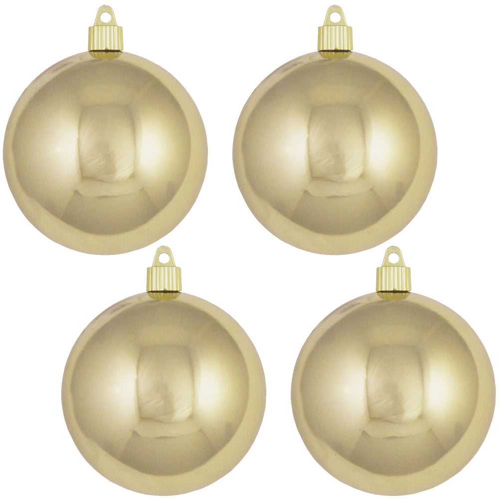 "4 Pack - 4"" (100mm) Commercial Grade Indoor Outdoor Shiny Finish Shatterproof Plastic Ball Ornaments"