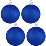 "4 Pack - 4"" (100mm) Commercial Grade Indoor Outdoor Glitter Finish Shatterproof Plastic Ball Ornaments"