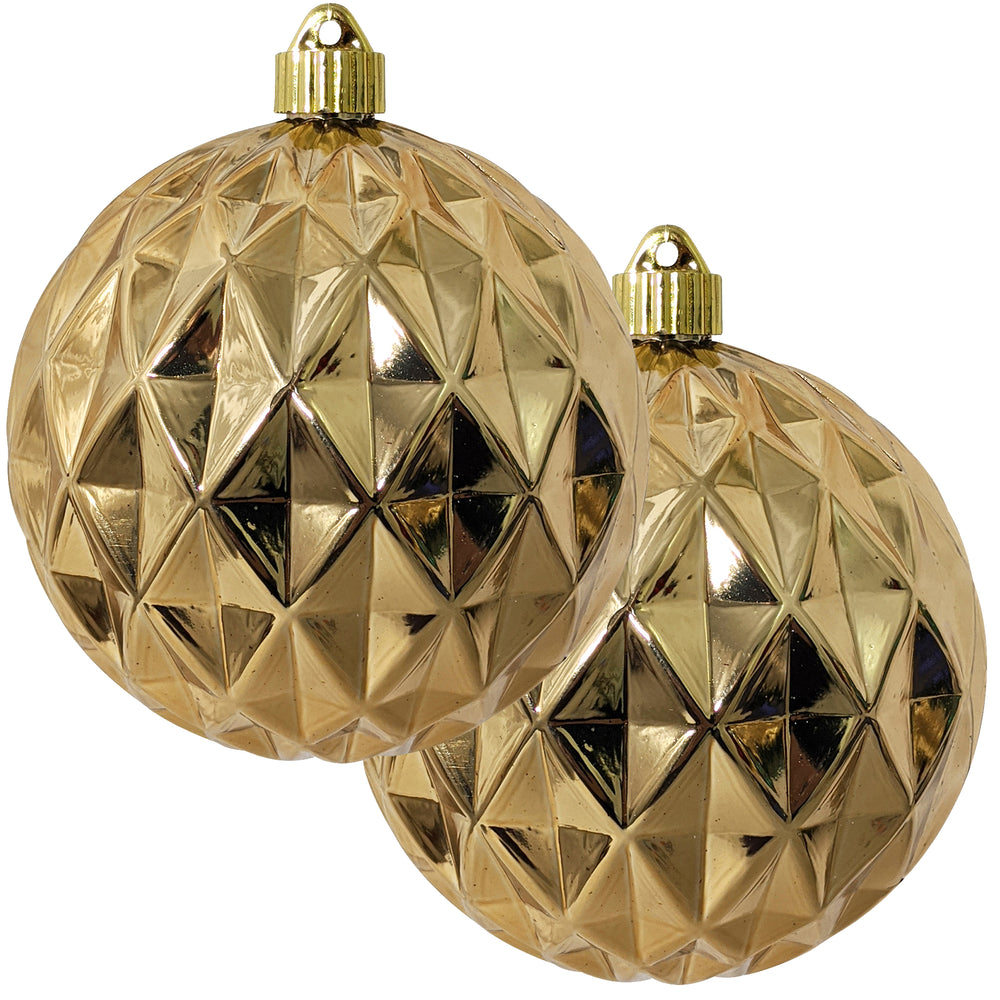 "2 Pack - 6"" (150mm) Shiny Finish Commercial Grade Indoor Outdoor Shatterproof Plastic Diamond Ball Ornaments"