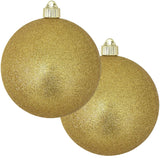 "2 Pack - 6"" (150mm) Glitter & Glitz Commercial Grade Indoor Outdoor Shatterproof Plastic Ball Ornaments"
