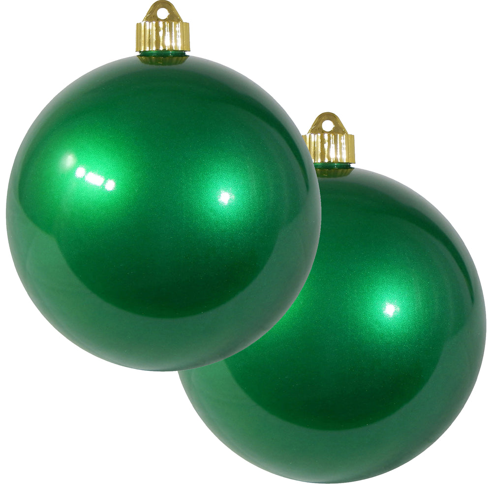 "2 Pack - 6"" (150mm) Candy Finish Commercial Grade Indoor Outdoor Shatterproof Plastic Ball Ornaments"