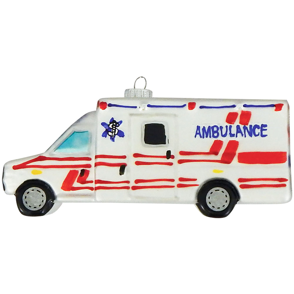 "Krebs Designer Glass Ambulance Figurine Christmas Holiday Ornament, 5 1/2"" (140mm)"