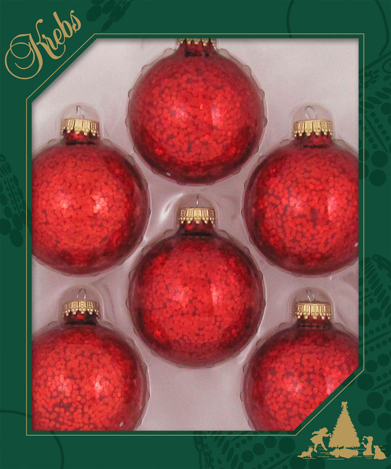 """4 Krebs Glass Ornaments Clear Glitter and Red with Merry Christmas Tree 2 1//2"""""""