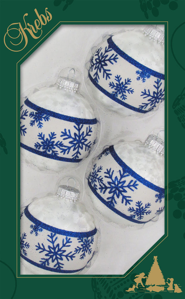 Krebs Designer Glass Classic Christmas Designed Ornament - 4 Pack