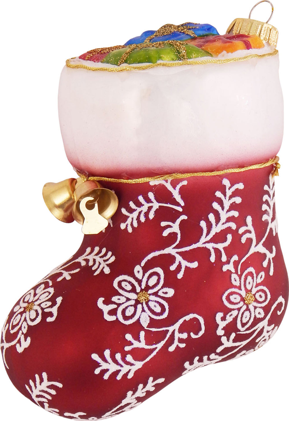 "Krebs Designer Glass Stocking Figurine Christmas Holiday Ornament, 5 1/2"" (140mm)"